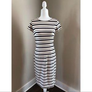 Ann Taylor Striped Dress with Zipper Back